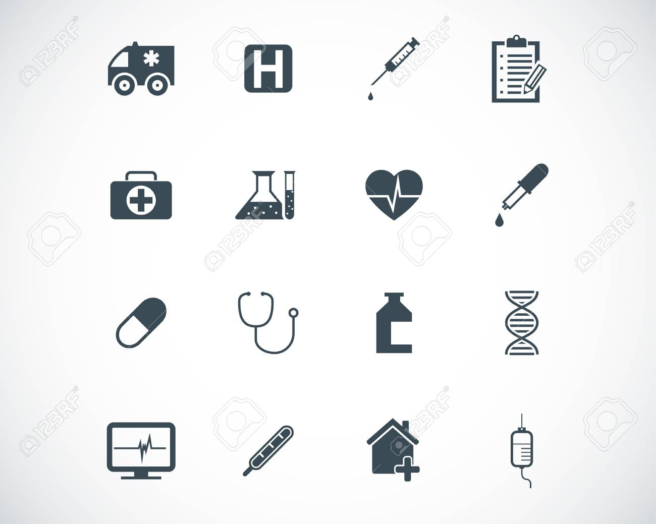 black  medical icons set Stock Vector - 22577234