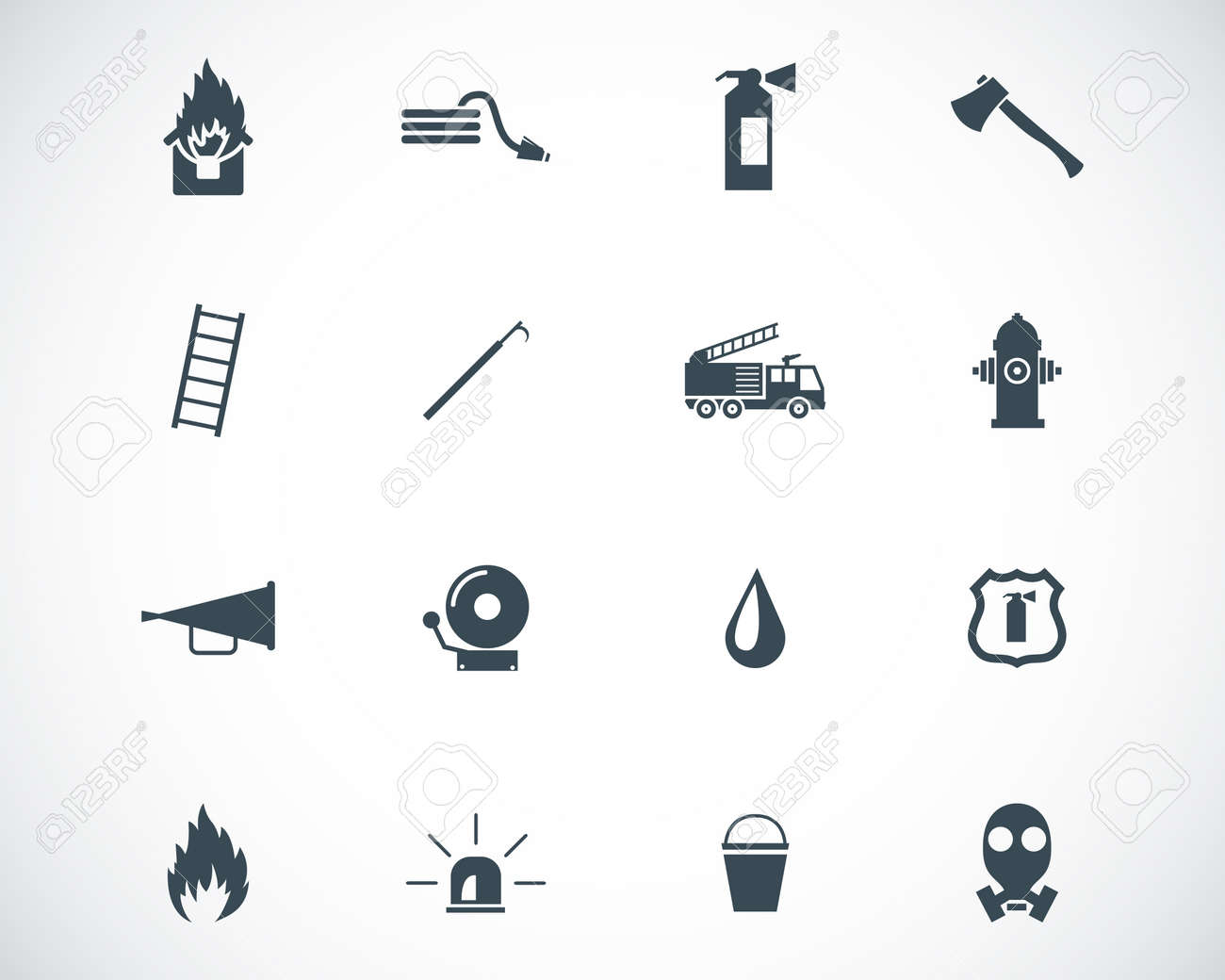 Vector black firefighter icons set - 23398588