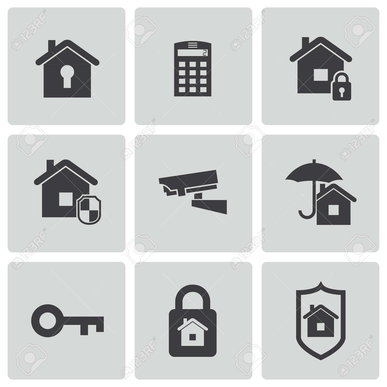 Vector black home security icons set - 23398610