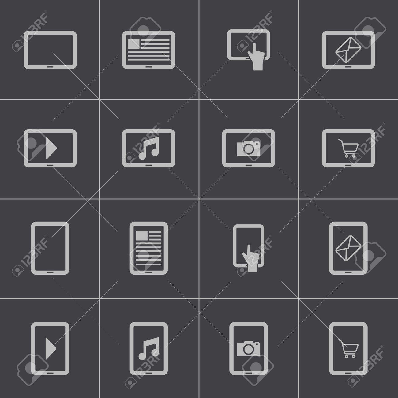 Vector black tablet icons set Stock Vector - 24332857