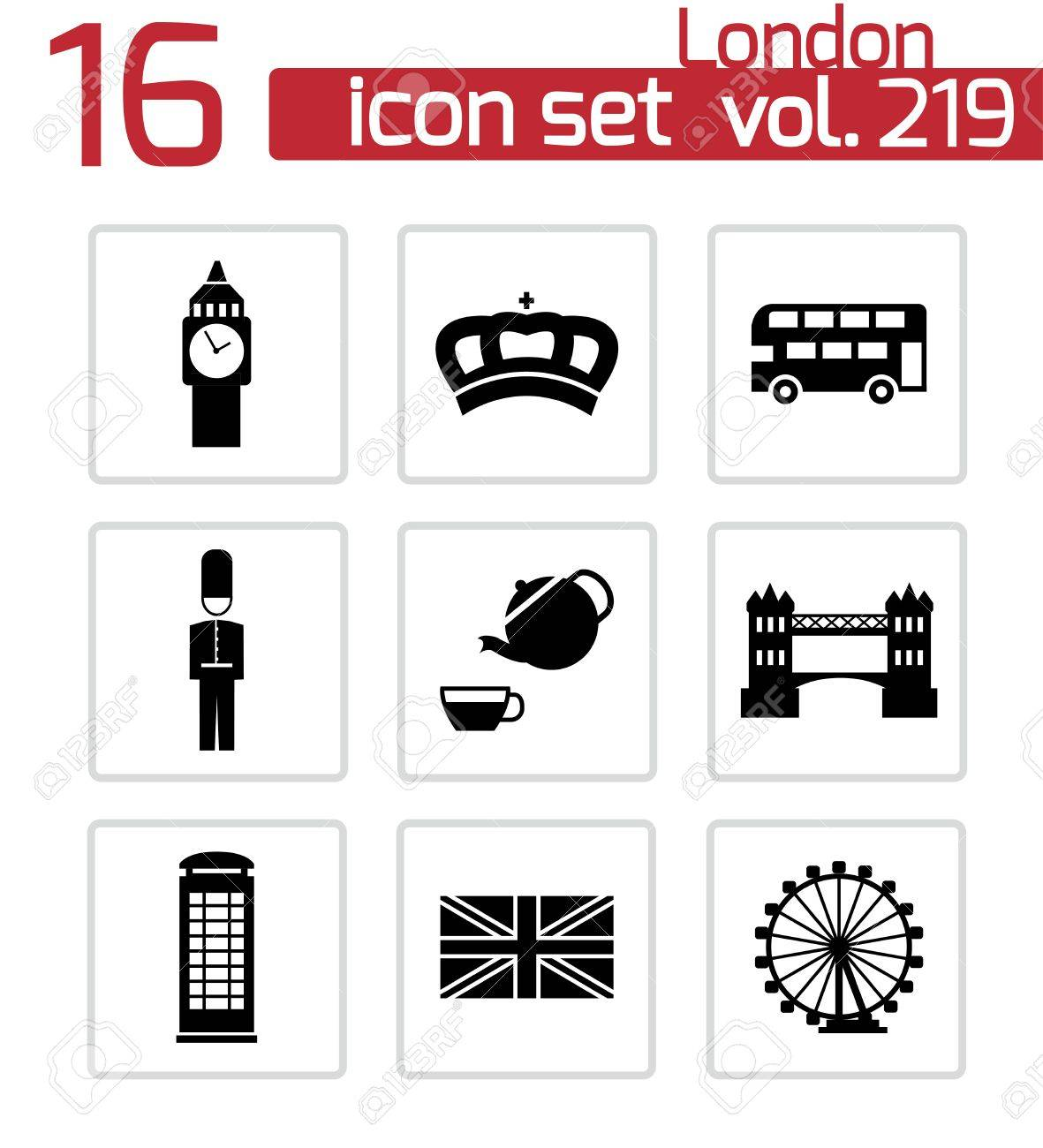 london icons set on white Stock Vector - 24598239