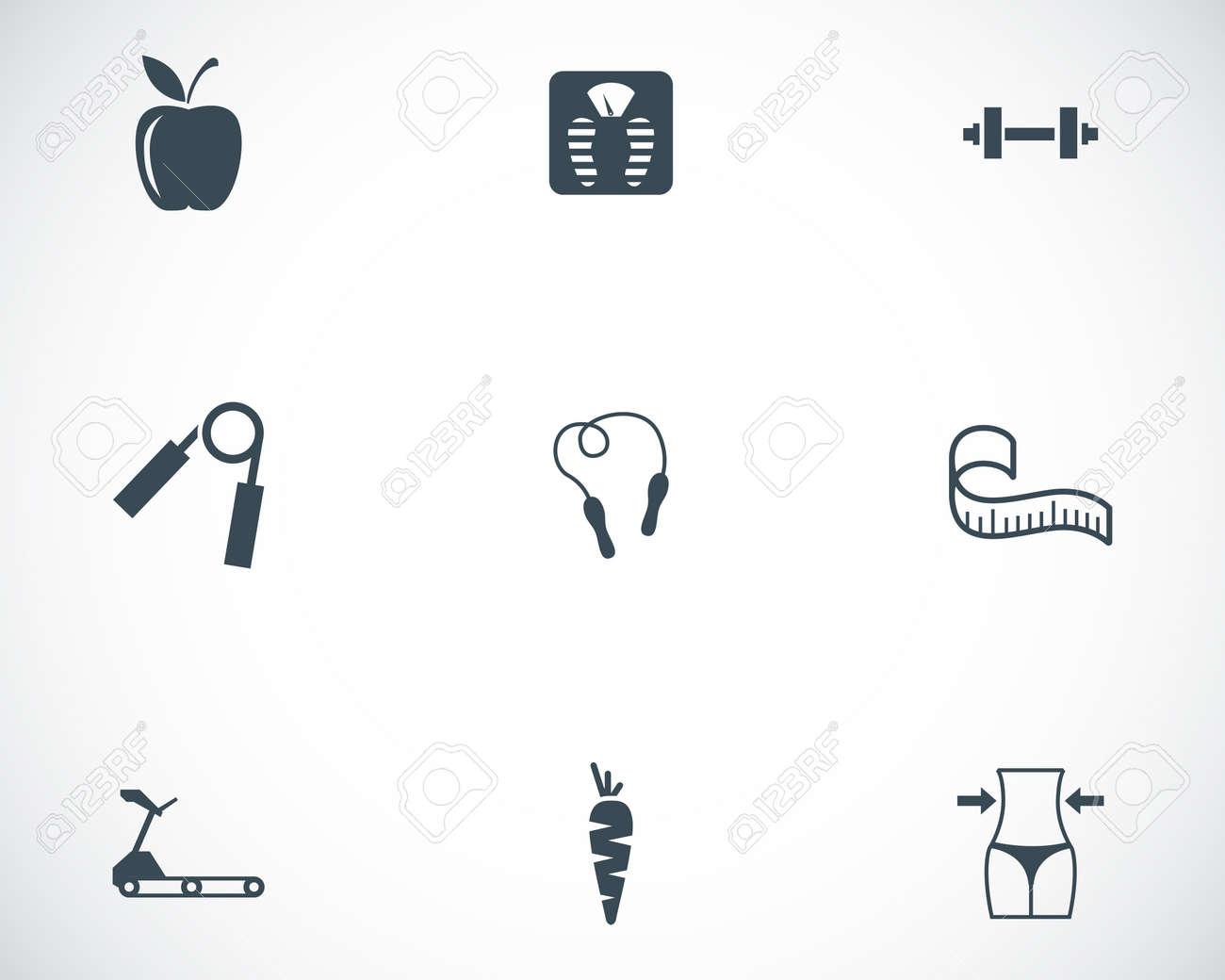 Vector black diet icons set on white background Stock Vector - 24686832