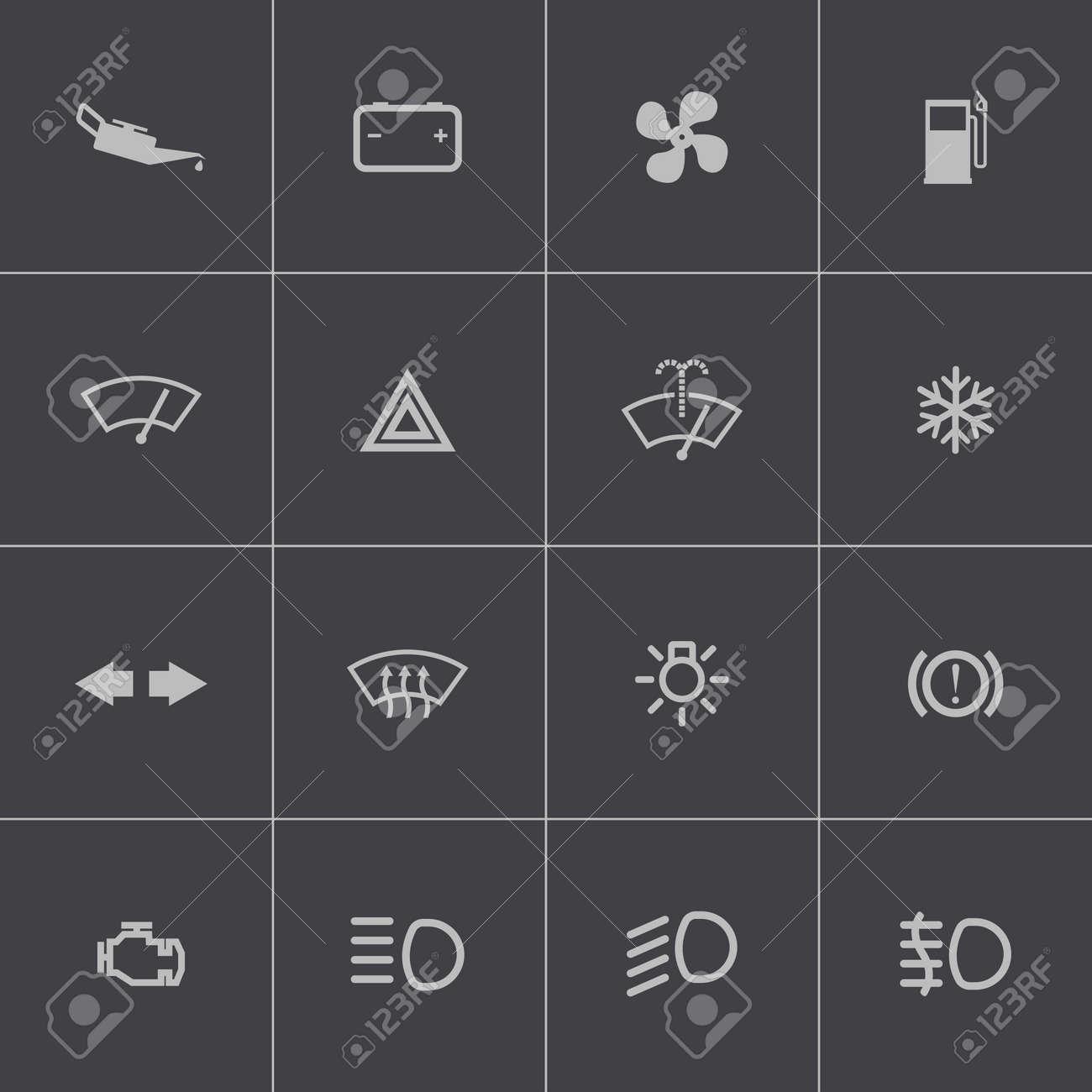 Vector Balck Car Dashboard Icons Set Royalty Free Cliparts - Car image sign of dashboardcar dashboard icons stock images royaltyfree imagesvectors