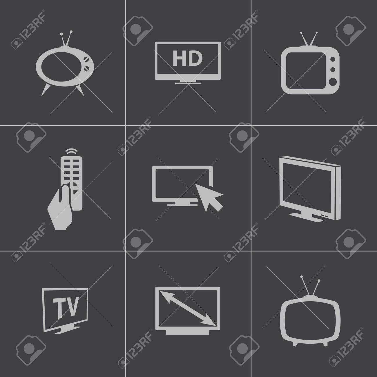 Vector black TV icons set Stock Vector - 24744027