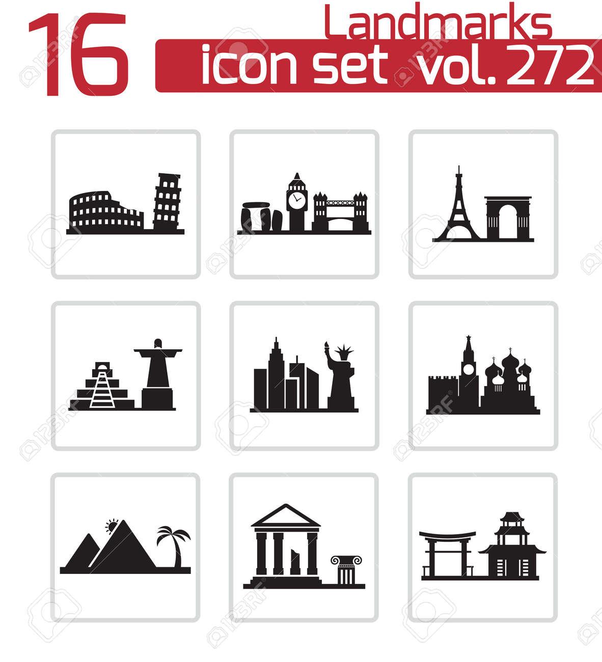 Vector black landmarks icons set on white background Stock Vector - 24744968