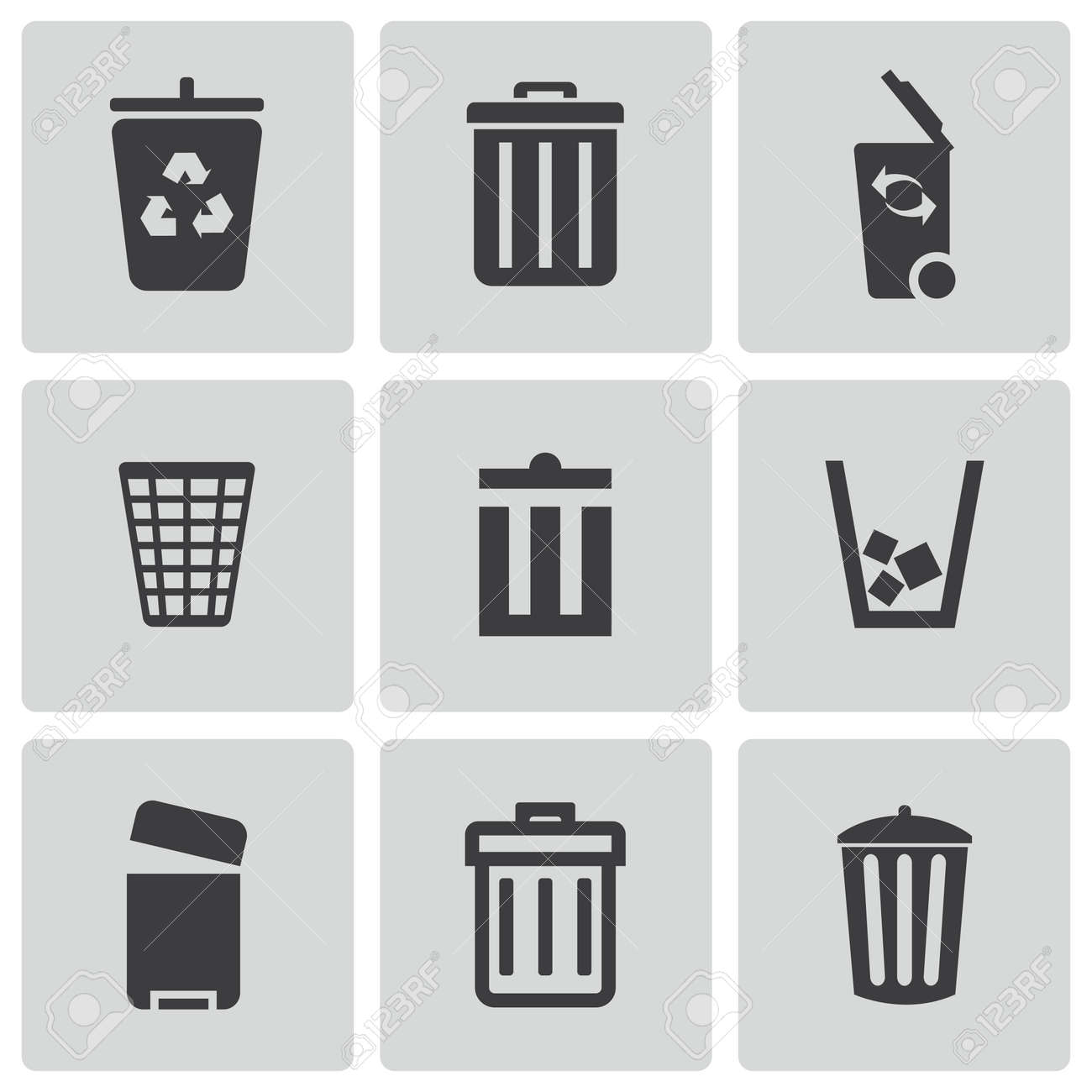 Trash Can Icons Set Stock Vector
