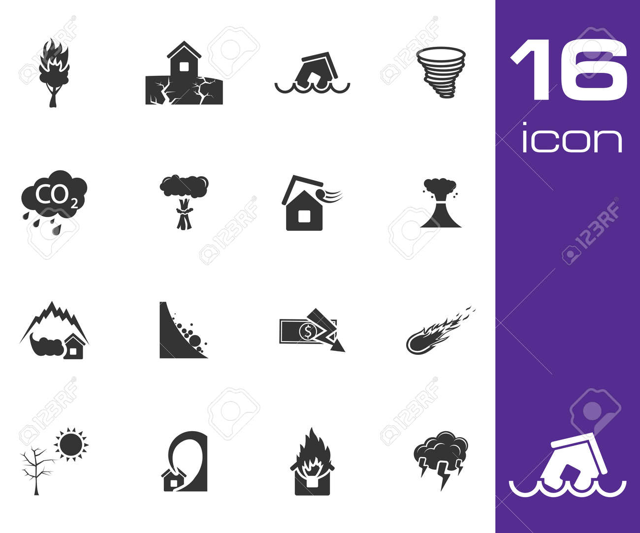 Vector black  disaster icons set on white background Stock Vector - 25365056