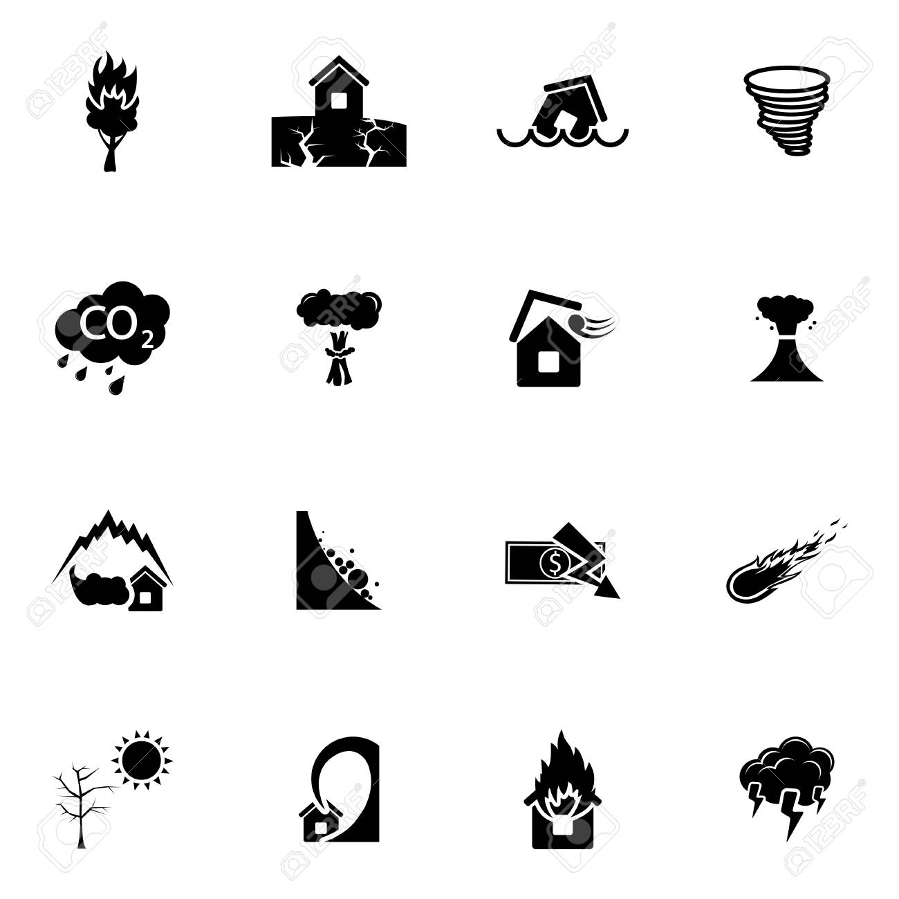 Vector black  disaster icons set on white background Stock Vector - 27352764