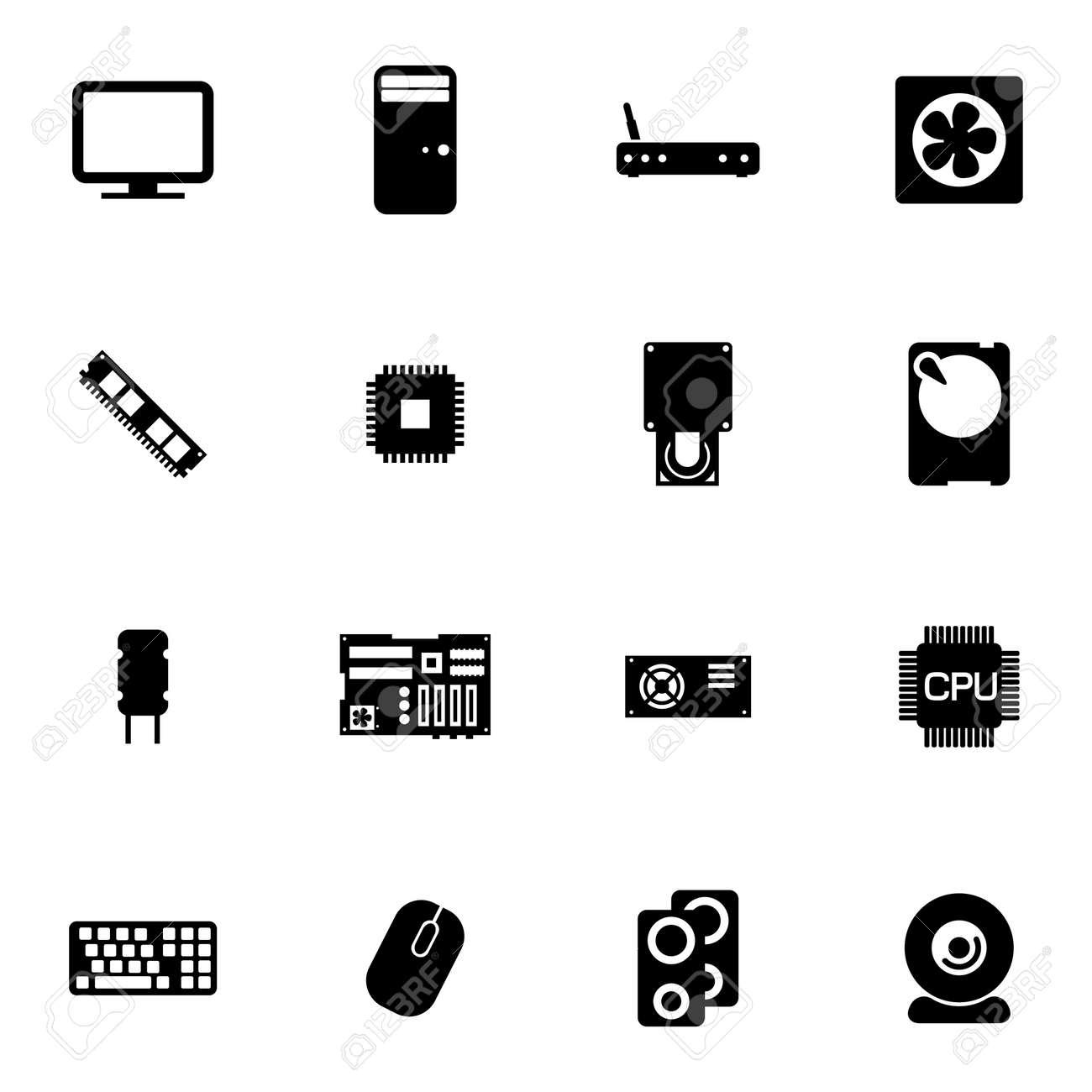 Vector Schwarz PC-Komponenten-Symbole Auf Weißem Hintergrund ...