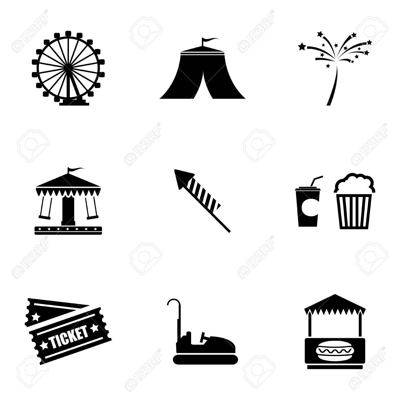 Carnival Silhouette Vector Vector Black Carnival Icons