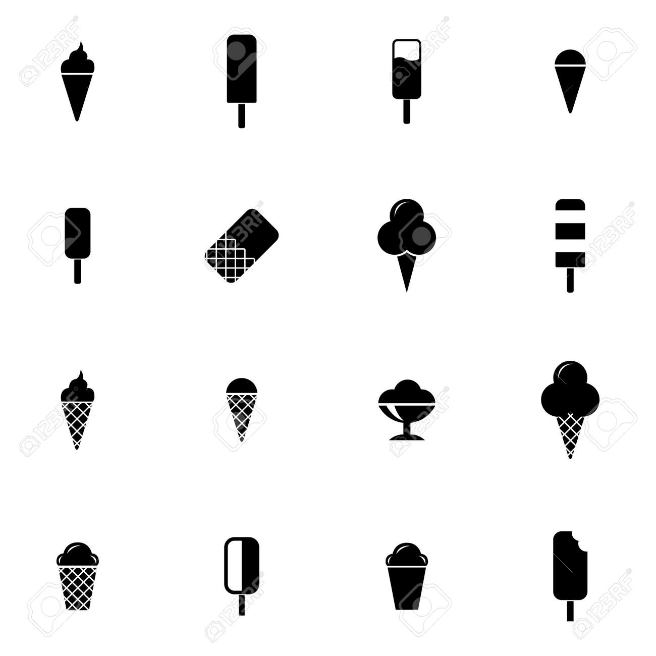 vector black ice cream icons set on white background royalty free cliparts vectors and stock illustration image 27381487 vector black ice cream icons set on white background