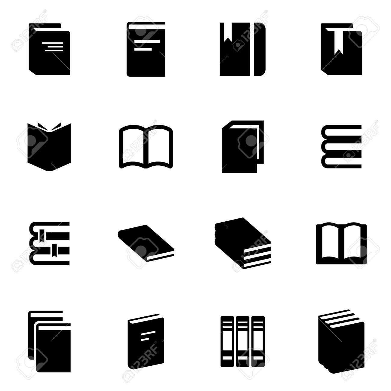 Icone De Livre Noir Serti Sur Fond Blanc