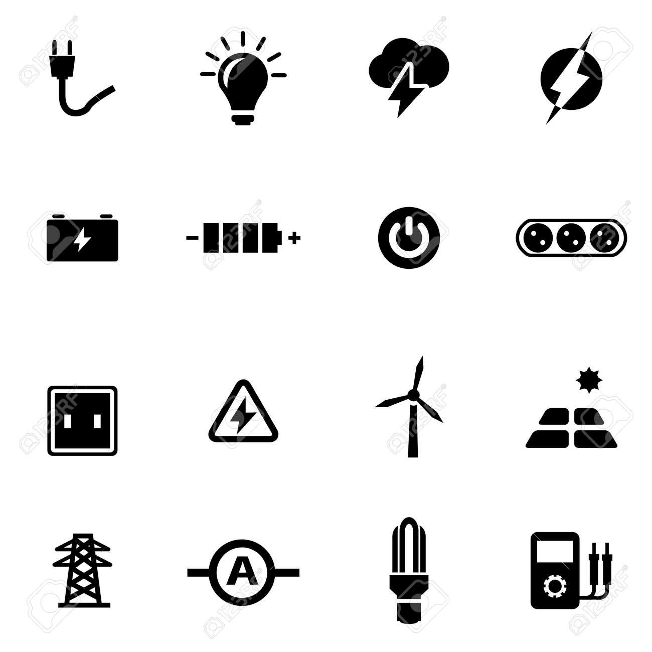 Schwarz Strom Symbol Auf Weißem Hintergrund Eingestellt Lizenzfrei ...