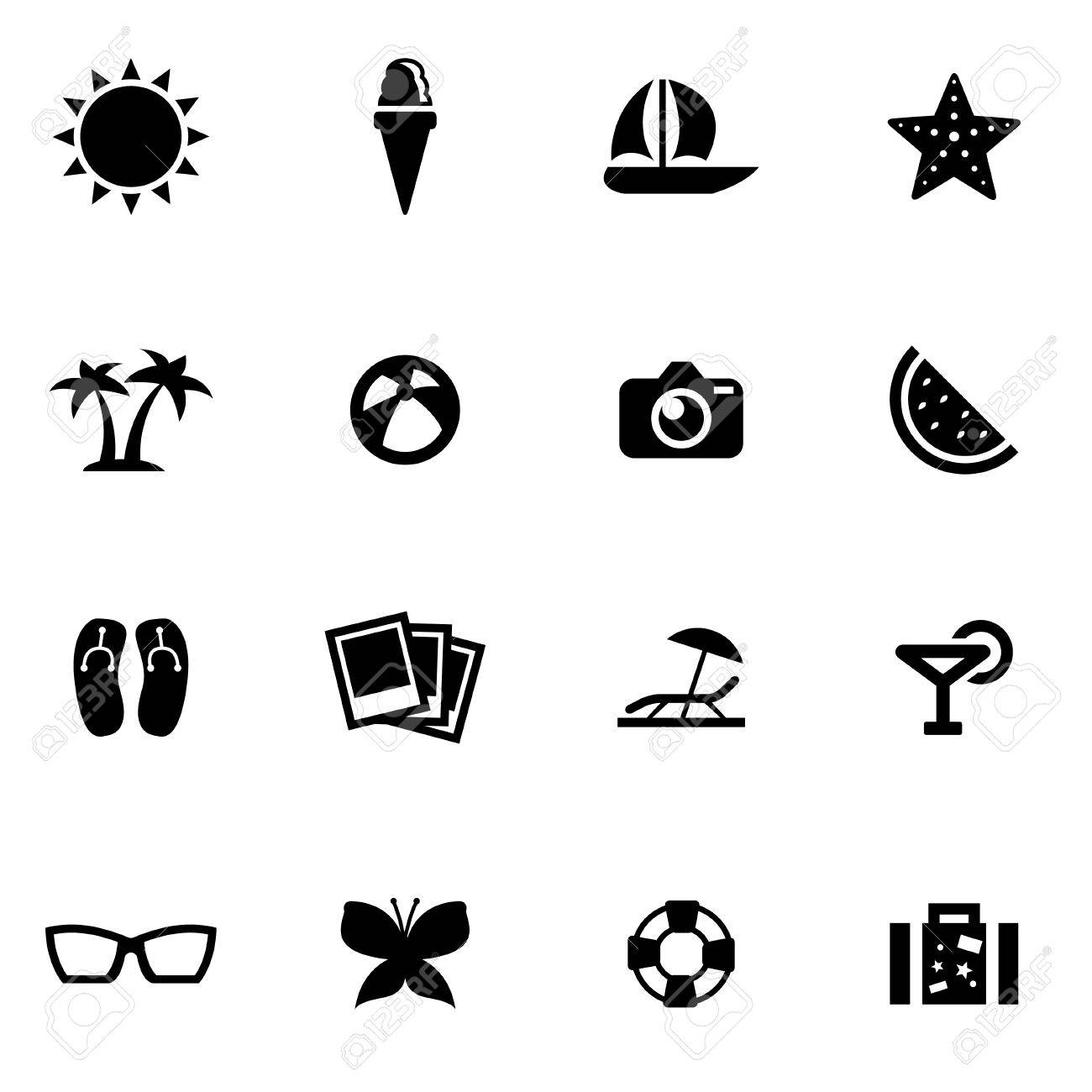 vector black summer icon set on white background royalty free cliparts vectors and stock illustration image 42713477 vector black summer icon set on white background
