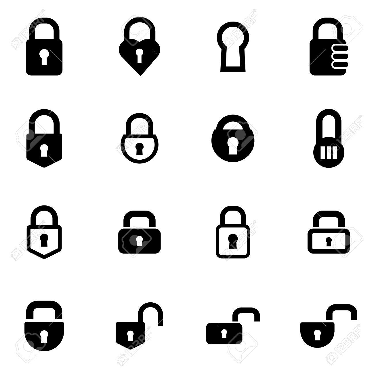 Vector black locks icon set on white background - 42715871