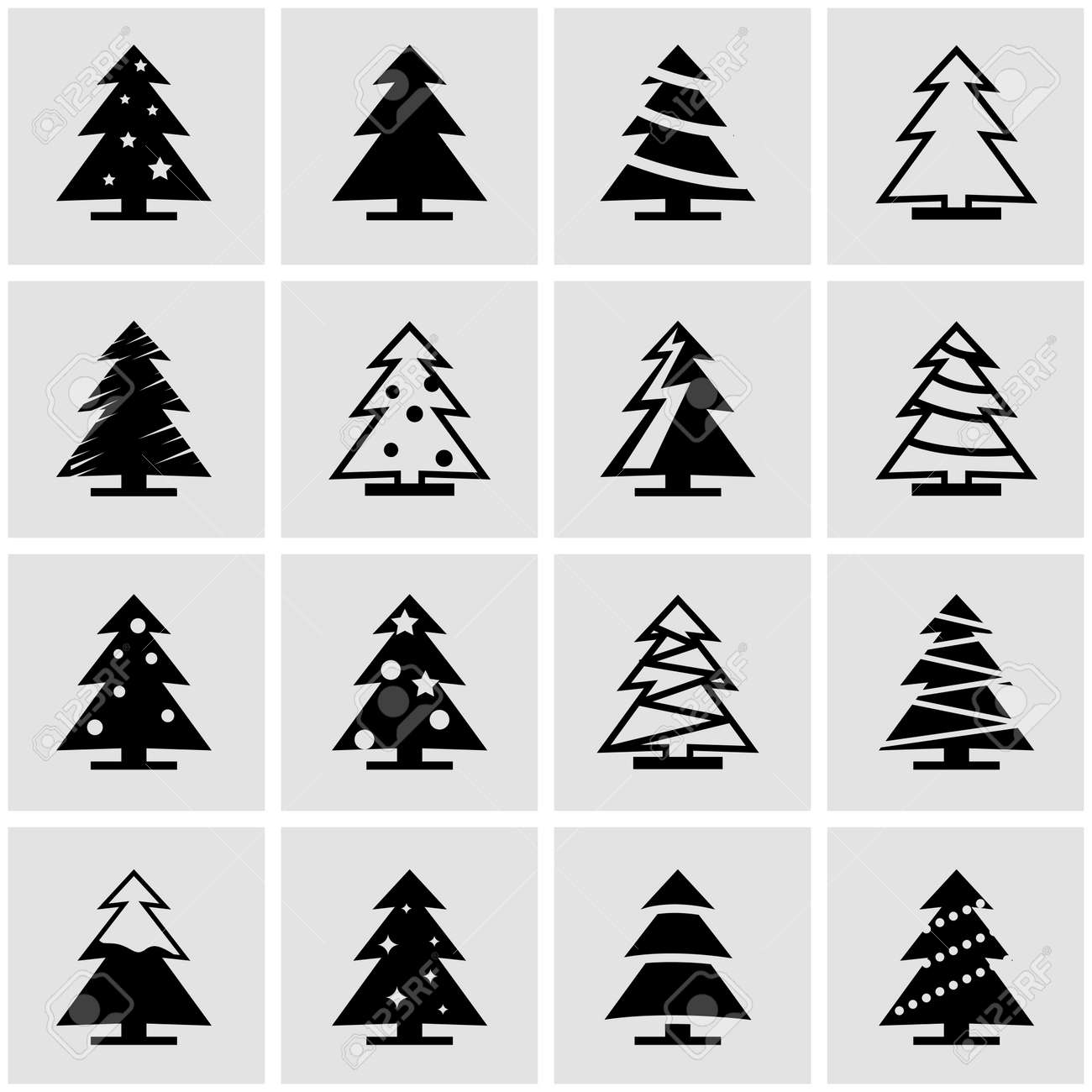 Vector Black Christmas Tree Icon Set On Grey Background
