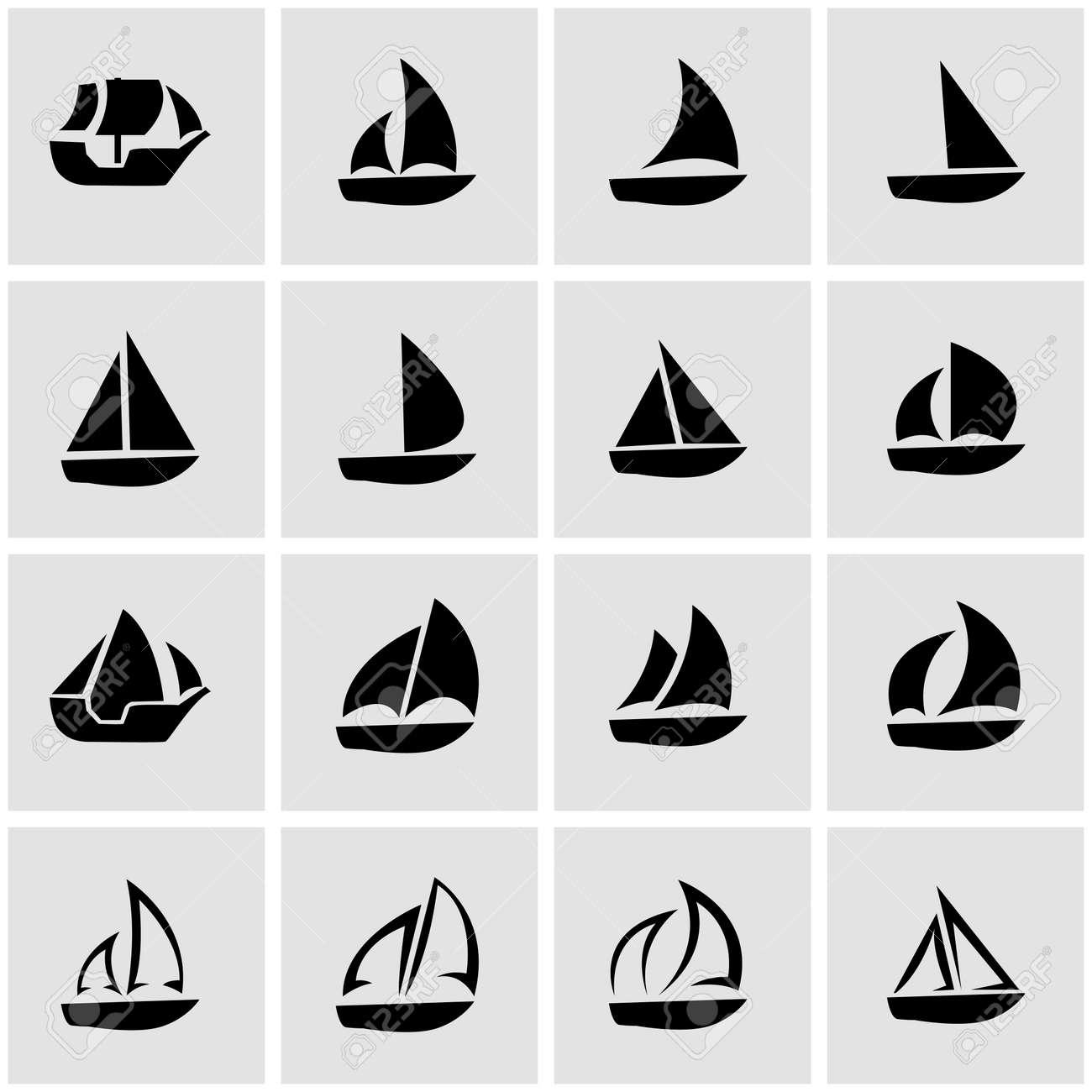 Segelboot zeichnung schwarz  Schwarz-Segelboot-Symbol Auf Grauem Hintergrund Lizenzfrei ...