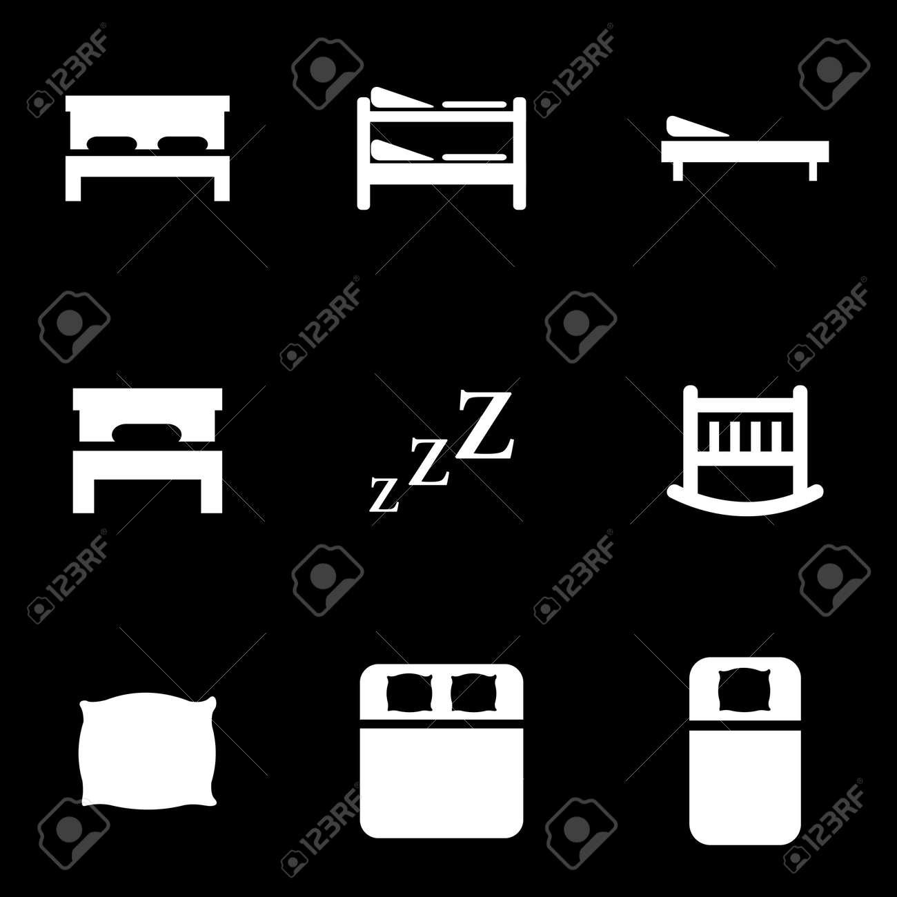 Vector Weissen Bett Icon Set Lizenzfrei Nutzbare Vektorgrafiken