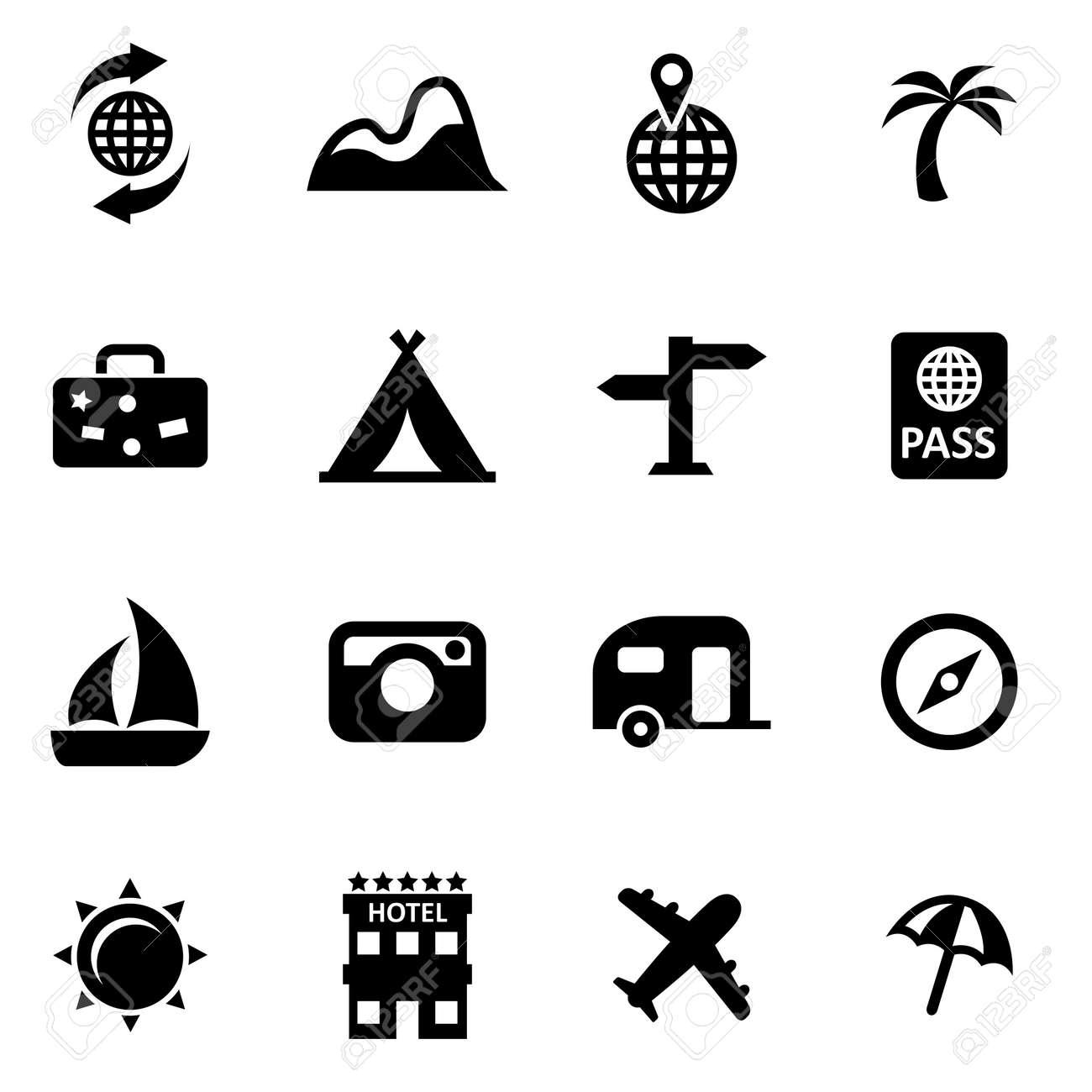 Vector black travel icon set Stock Vector - 47420865