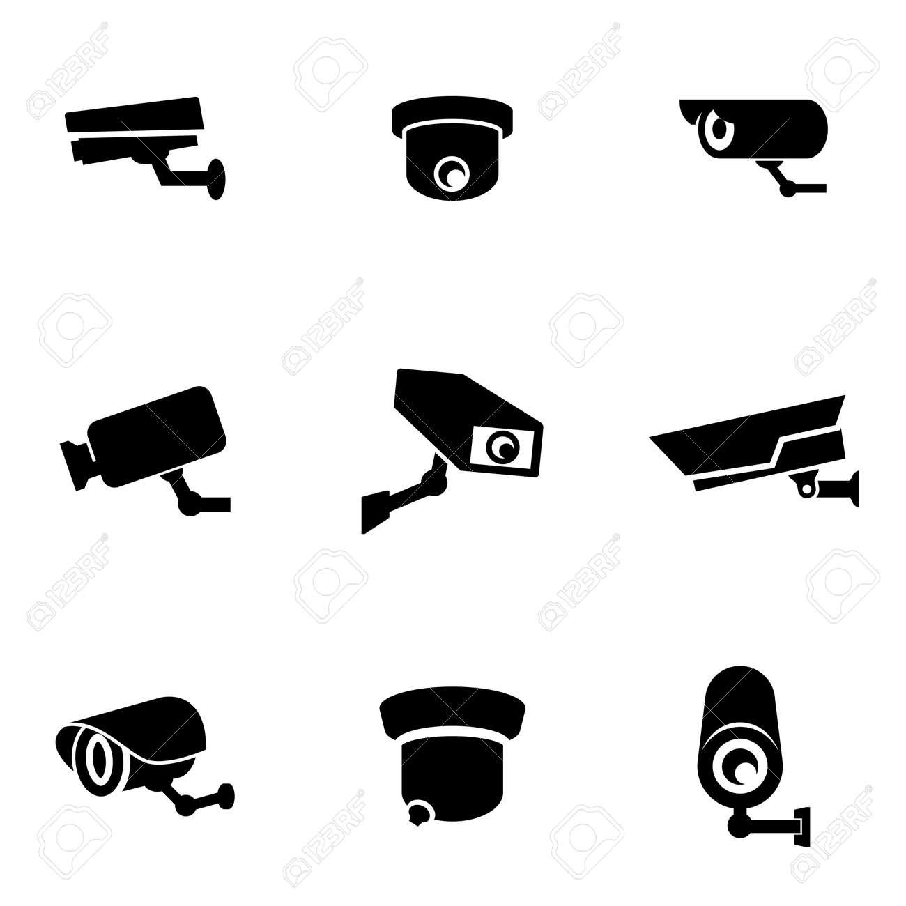 Vector black security camera icon set. Security Camera Icon Object, Security Camera Icon Picture, Security Camera Icon Image - stock vector - 50313635