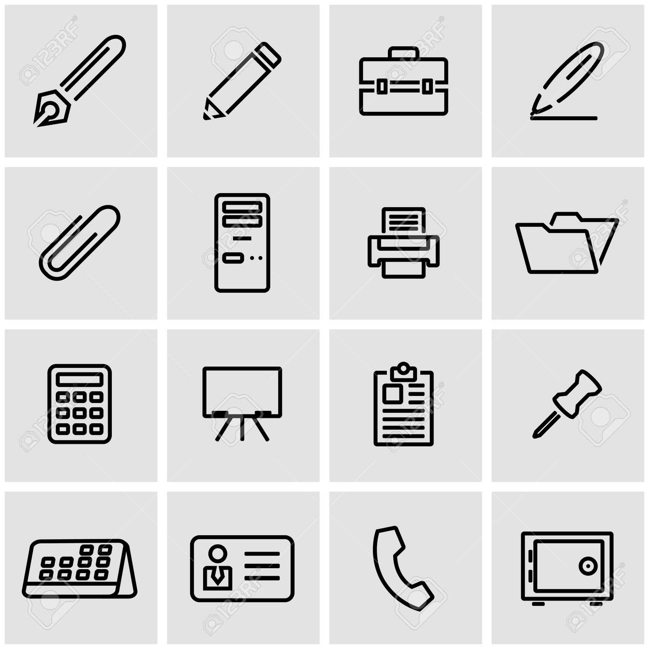 Vector Line Office Icon Set Office Icon Object Notes Icon Picture