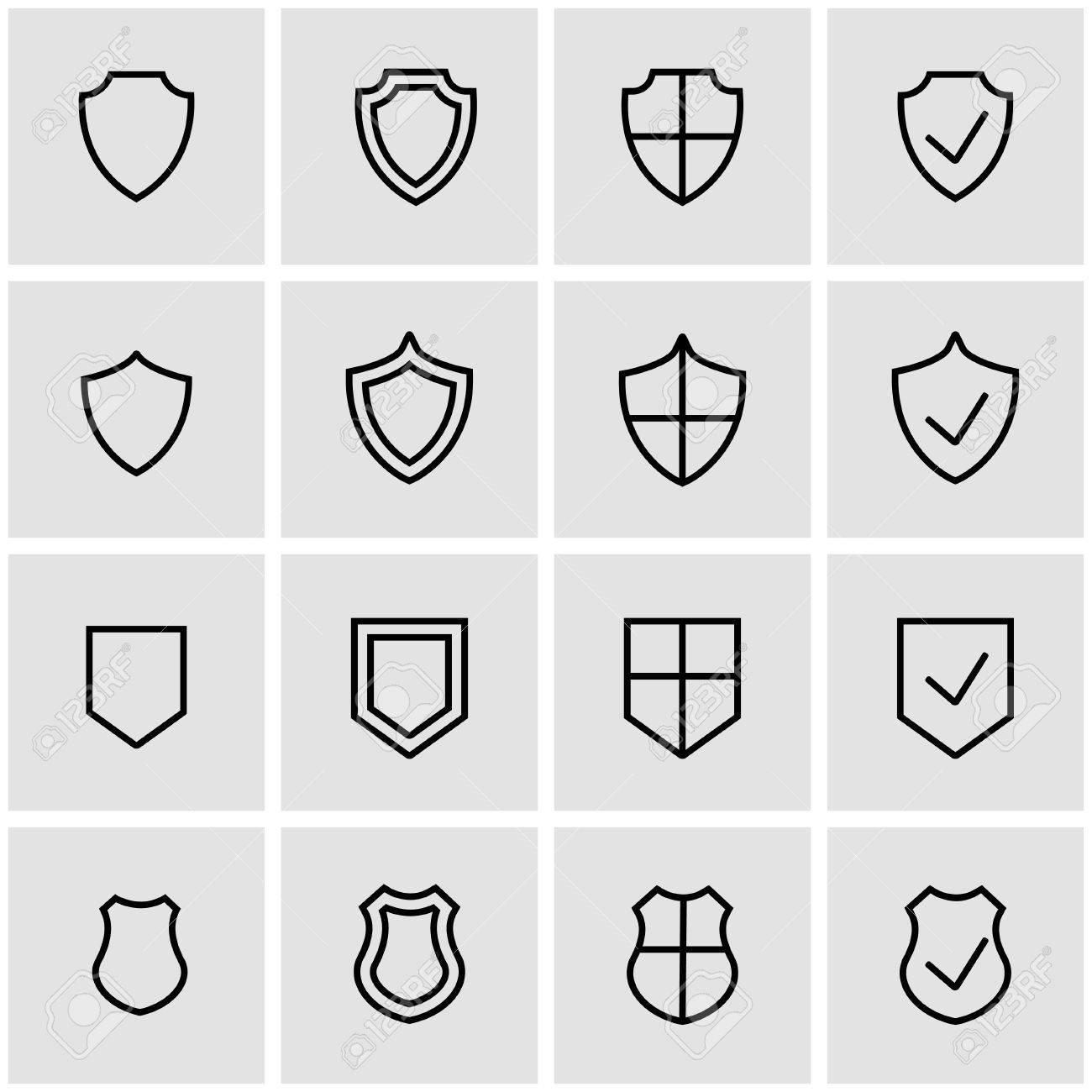 Vector line shield icon set. Shield Icon Object, Shield Icon Picture, Shield Icon Image - stock vector - 52074958