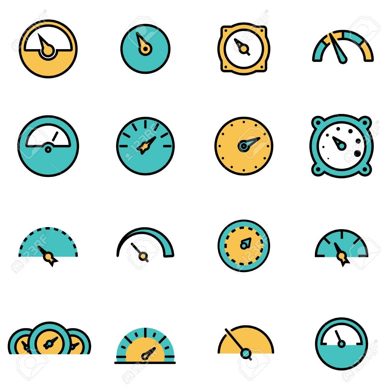 Trendy Flache Linie Icon Pack Für Designer Und Entwickler. Vector ...