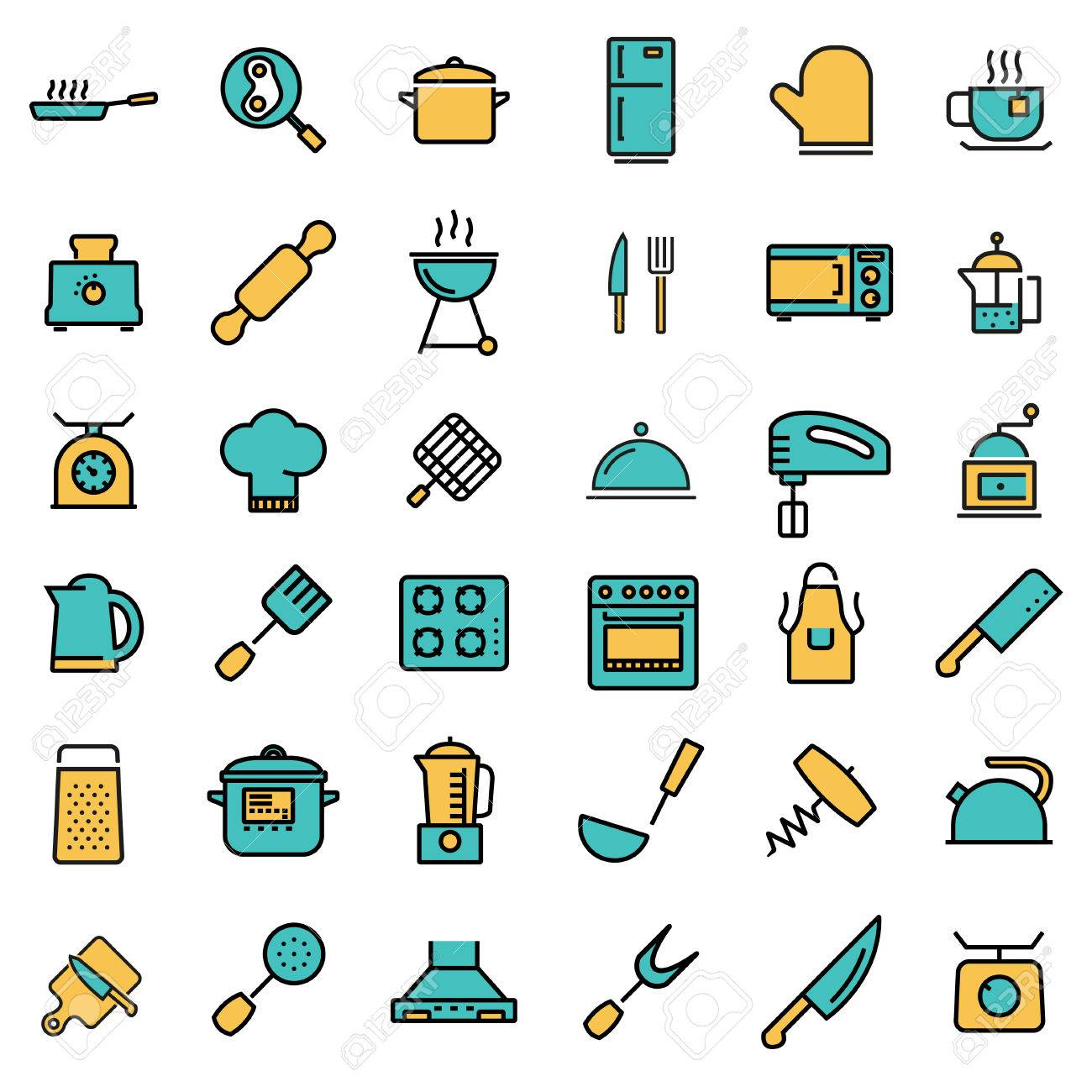 Vector Flat Line Kitchen And Cooking Icons Set Kitchen And Cooking