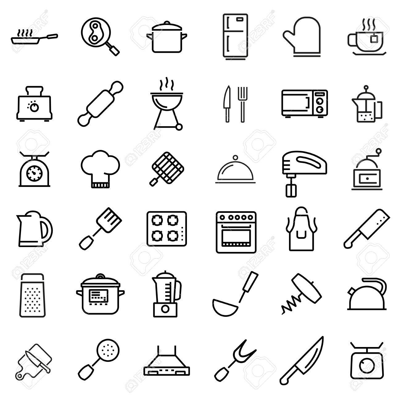 Vector Line Kitchen And Cooking Icons Set Kitchen And Cooking