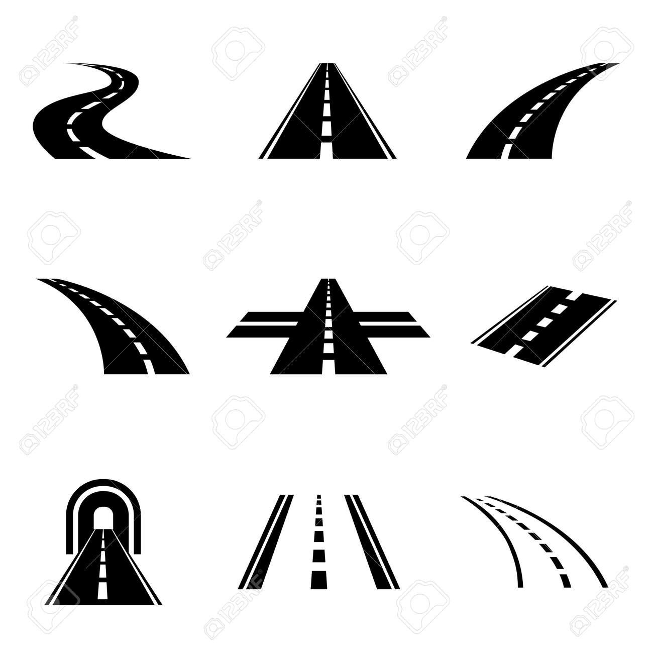 Vector black car road icons set. Highway symbols. Road signs - 55658347