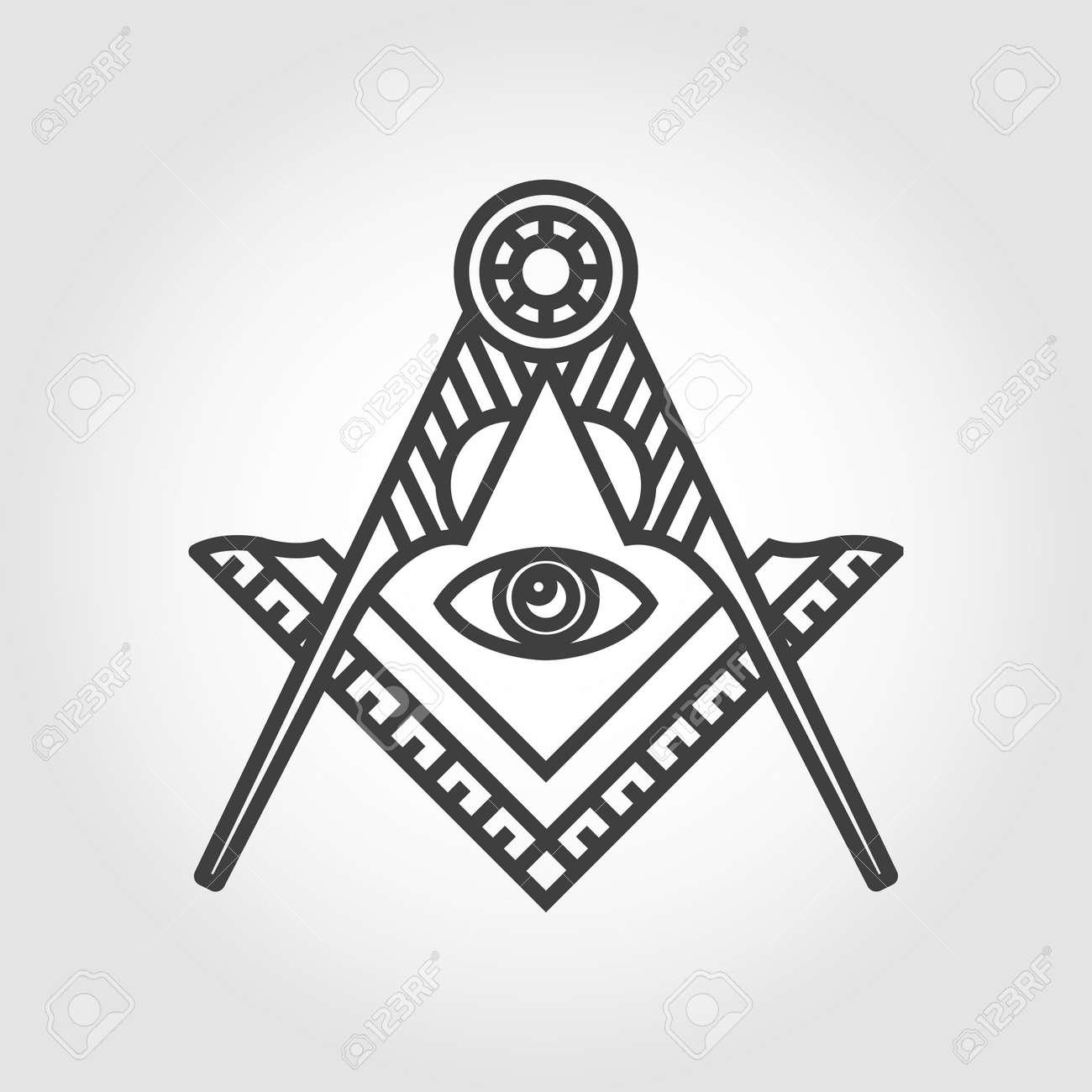 Vector grey masonic freemasonry emblem icon on grey background