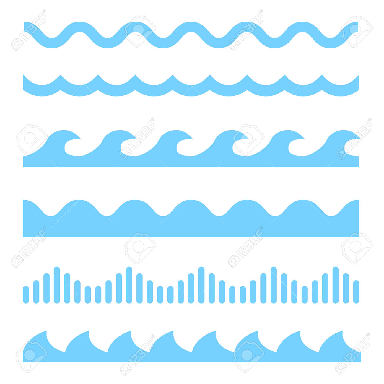 Vector blue wave icons set on white background. Water waves - 56000451