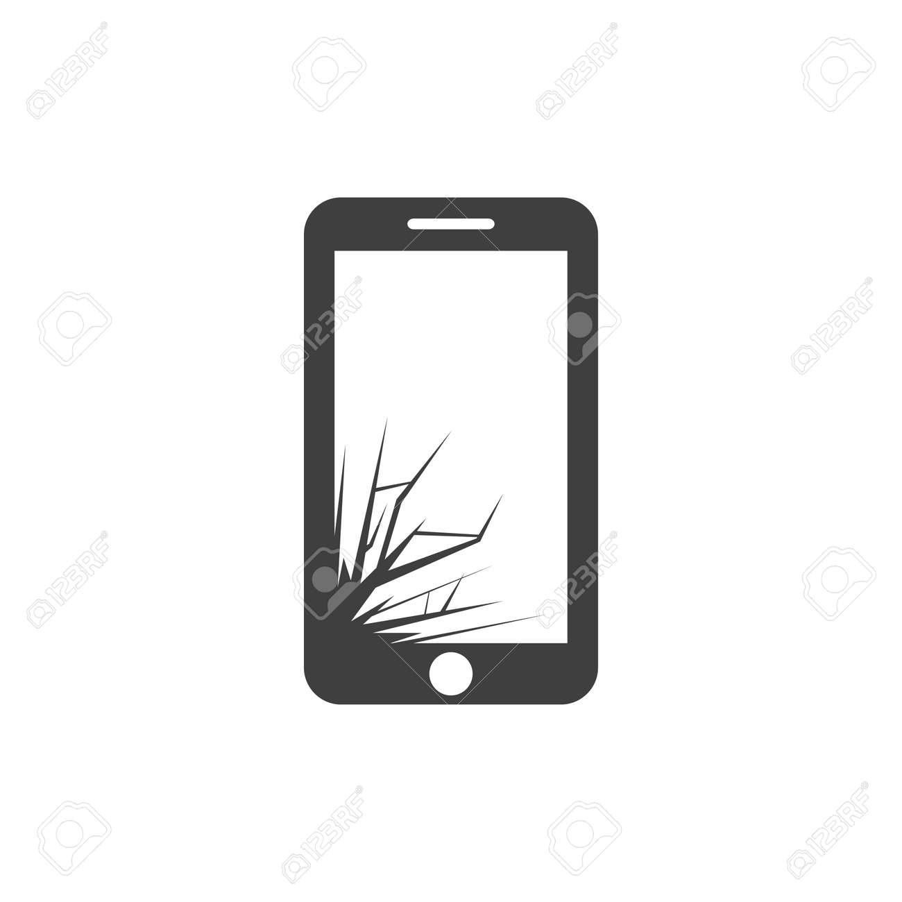 Vectro Icone Noire Casse Telephone A Ecran Sur Fond Blanc