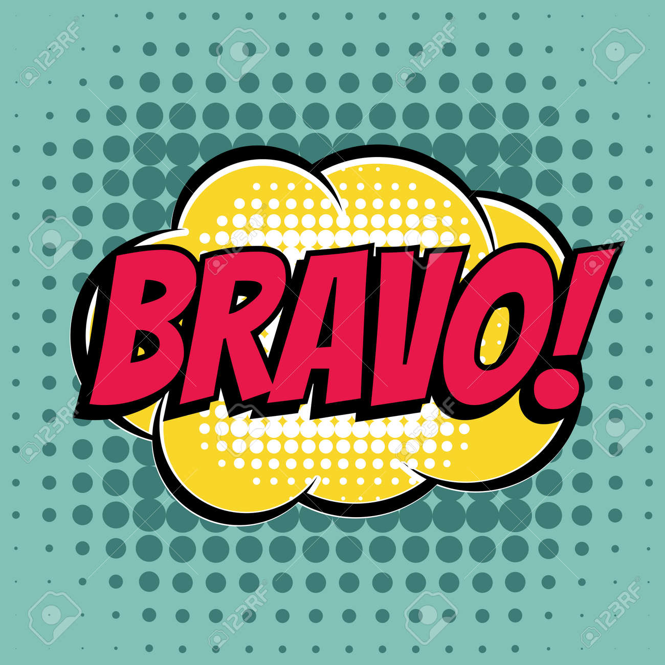 Image Bravo bravo comic book bubble text retro style royalty free cliparts