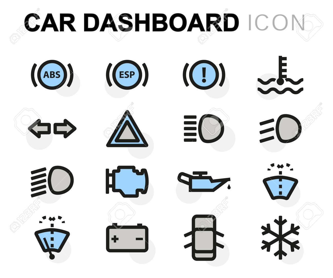 Armaturenbrett symbole  Vector Flache Auto Armaturenbrett-Symbole Auf Weißem Hintergrund ...