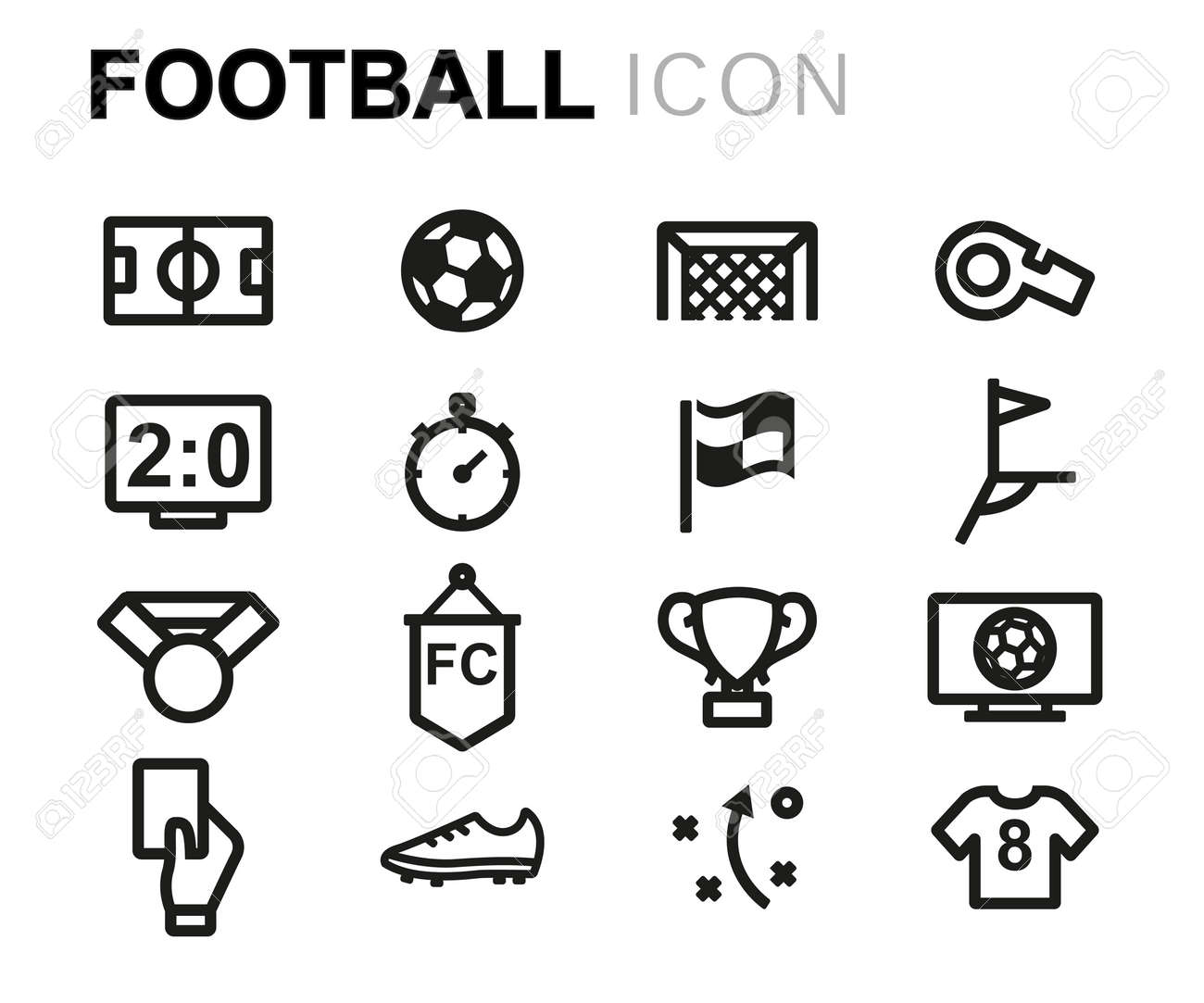 Vector line football icons set on white background - 67762747