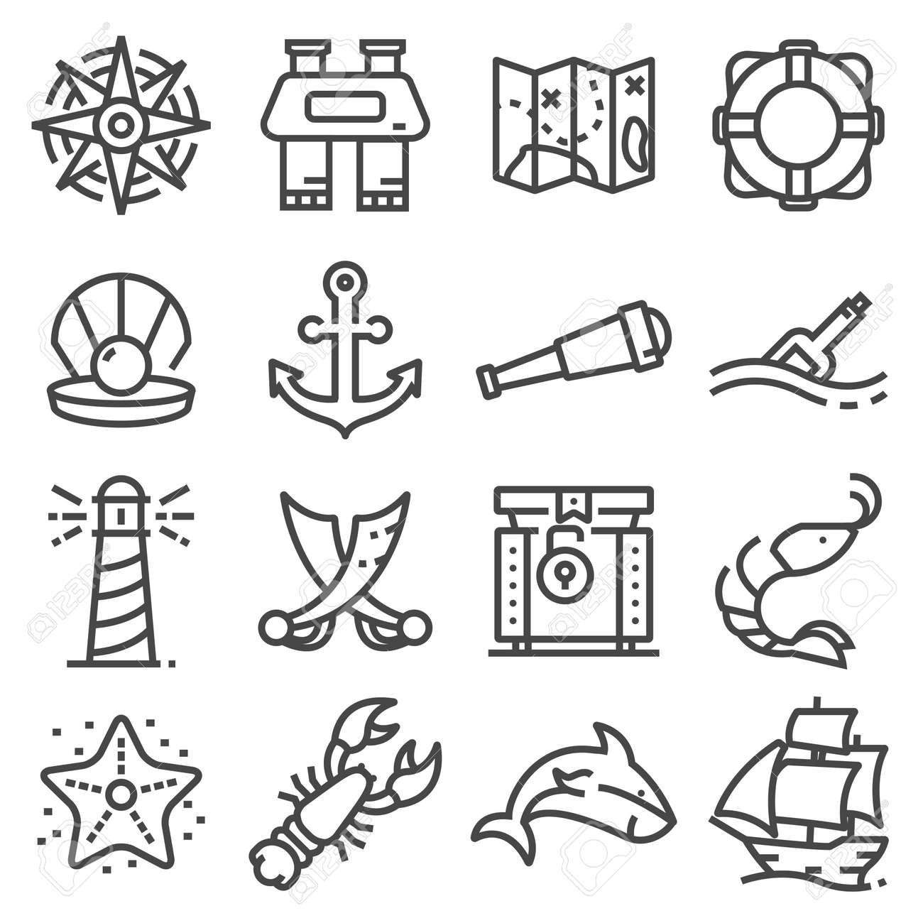 92bfd5304 Nautical icons set. Set of 16 nautical outline icons.