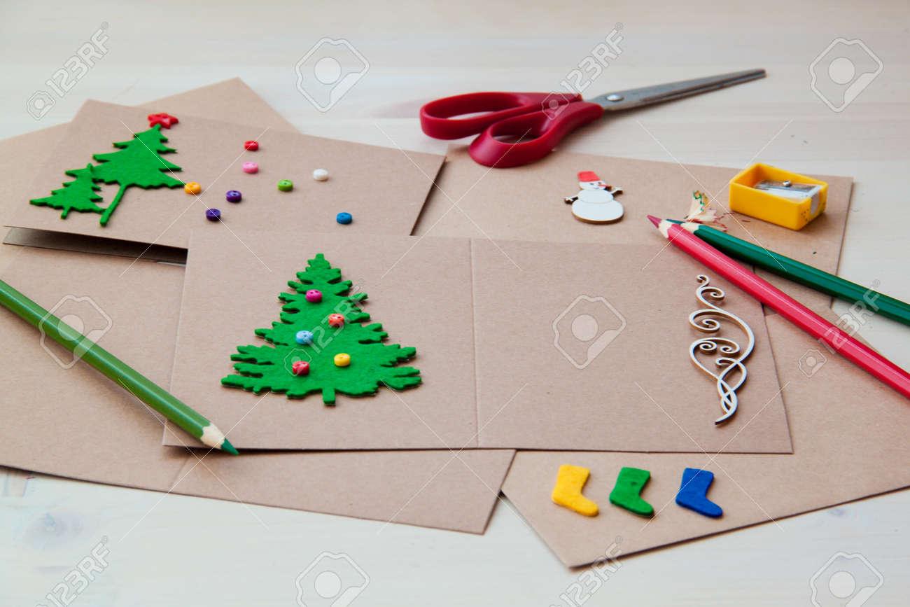 Signing Handmade Christmas Cards Felt Scissors Buttons Christmas ...