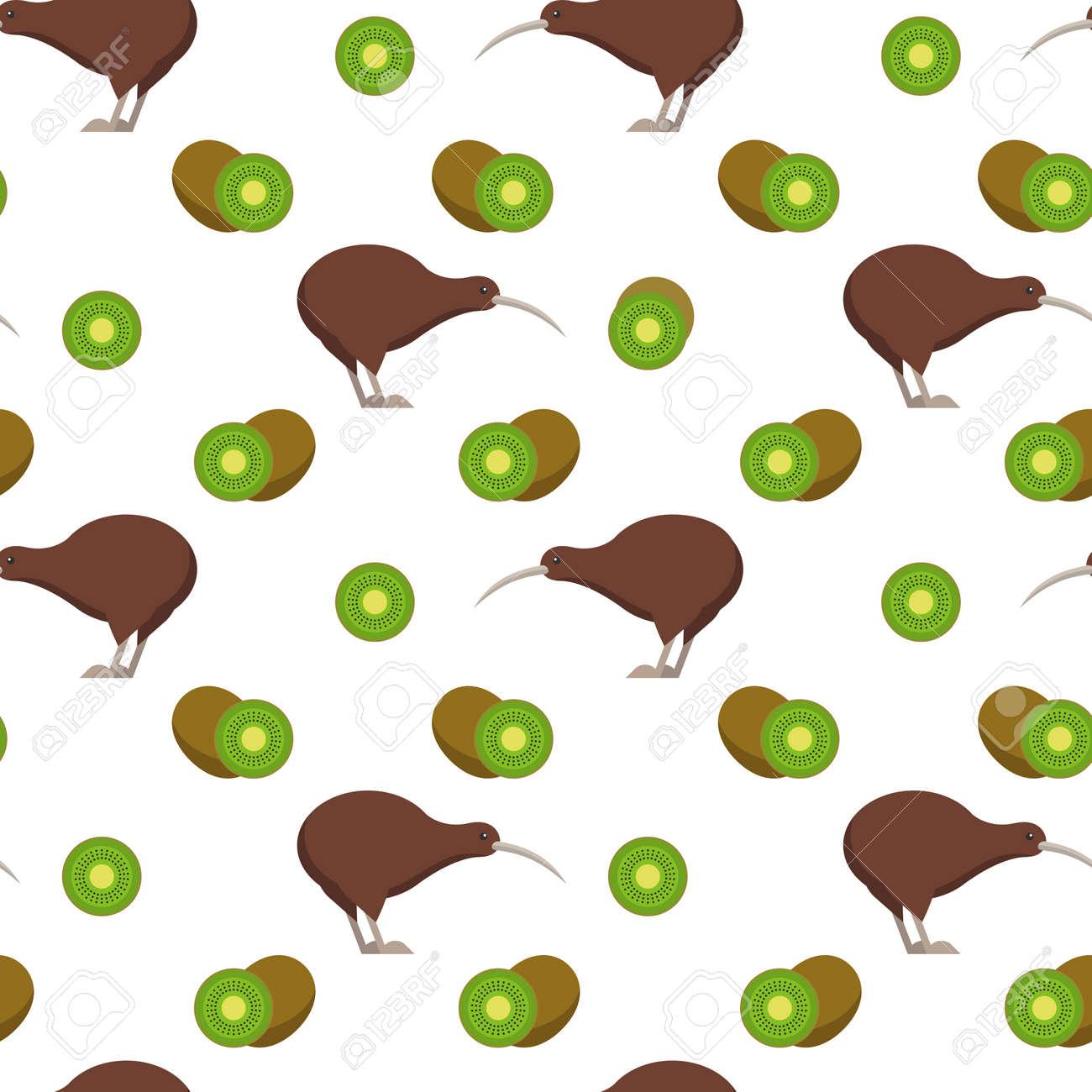 Seamless pattern with kiwi birds and kiwi fruits - 50705841