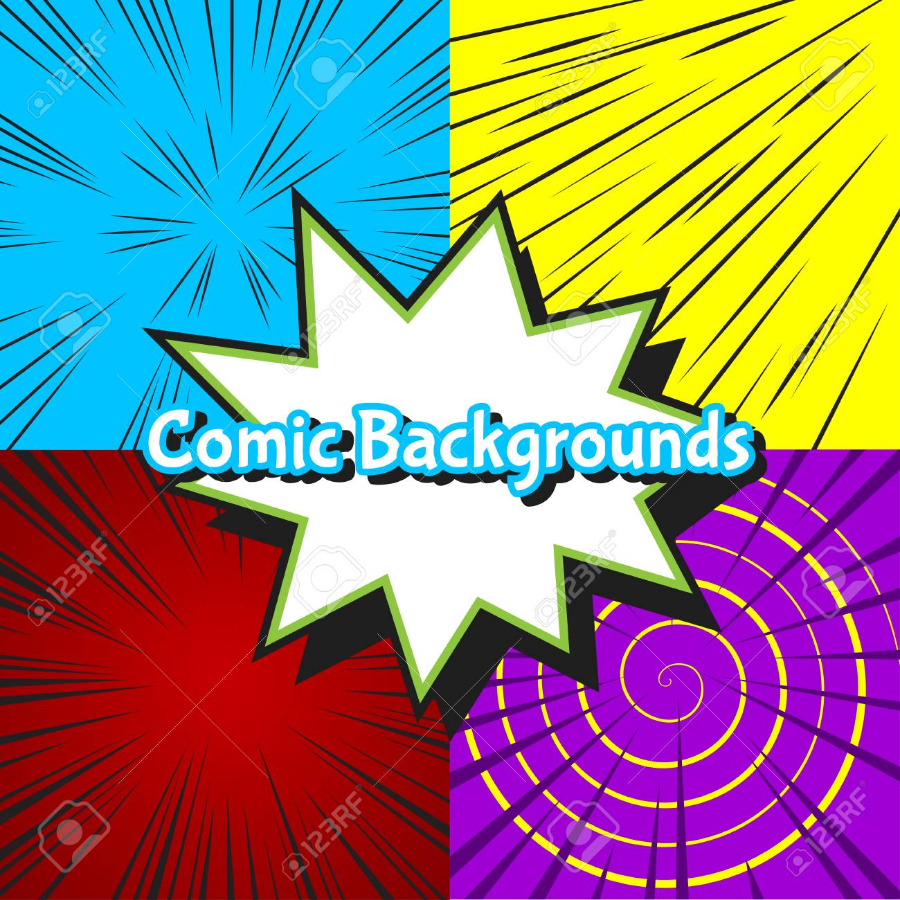 Set of abstract colorful burst comic backgrounds