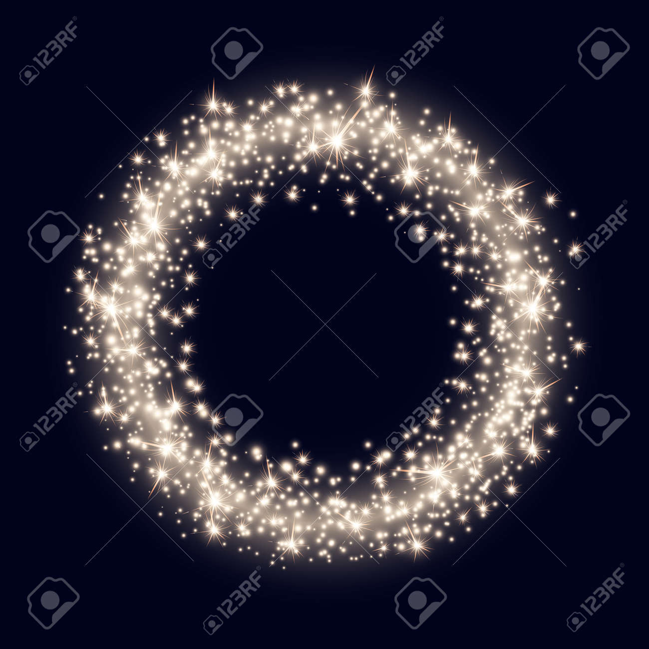 Vector Backdrop with Abstract Bright Sparkling Golden Ring on Dark Blue Background - 50705975