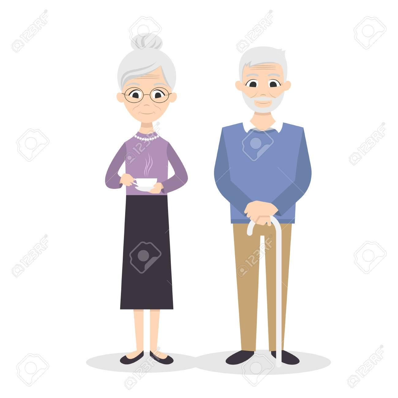 Vector illustration of happy smiling senior couple. - 51420522