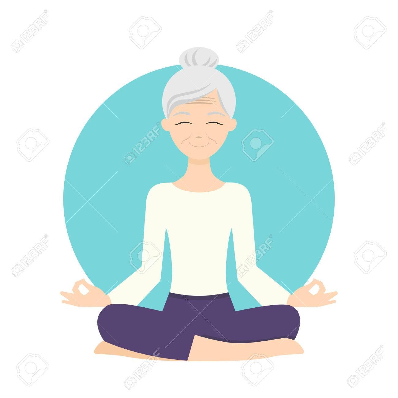 Illustration of senior woman practicing yoga exercises. Healthy lifestyle. - 51737527