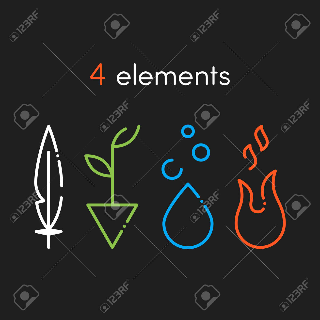 Vector Nature basic elements: Water, Fire, Earth, Air. Icons on dark background - 51737530