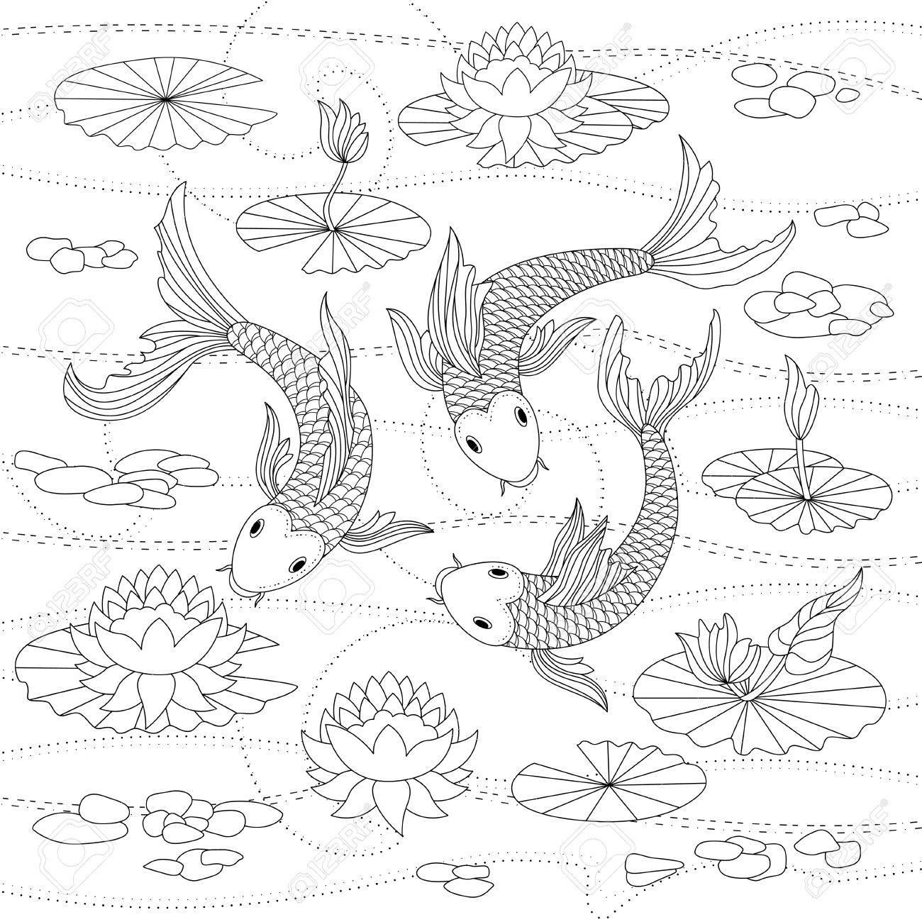 Lujo Peces Koi Japoneses Para Colorear Imagen - Ideas Para Colorear ...