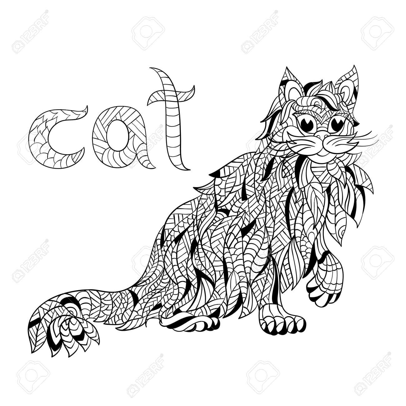 Vector Zwart Wit Hand Getrokken Zentagle Illustratie Van De Kat