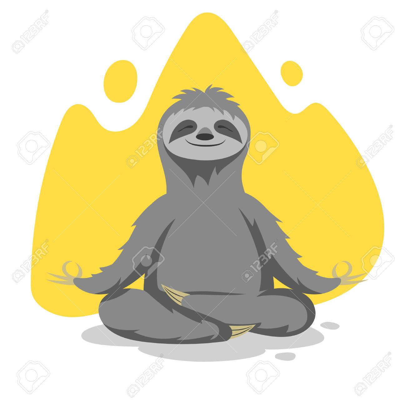 Vector illustration of happy cute sloth practicing yoga exercises. Vector print for t-shirt or poster design. - 54623796