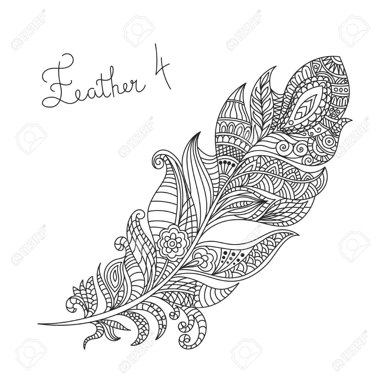 Vector Monochrome Hand Drawn Zentagle Illustration Of Feather ...