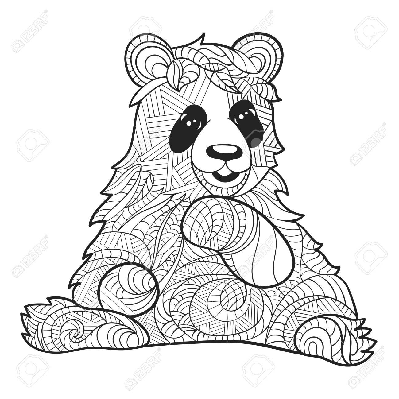 La Mano En Blanco Y Negro Del Vector Dibujado La Ilustración Zentagle De Oso Panda Página Para Colorear Con Detalles Altos Aislados Sobre Fondo
