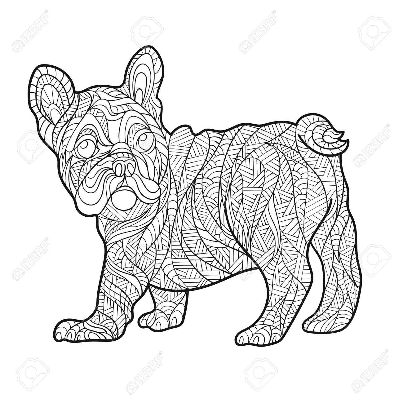 Vector Monochrome Hand Zentagle Illustration Von Französisch Bulldog ...